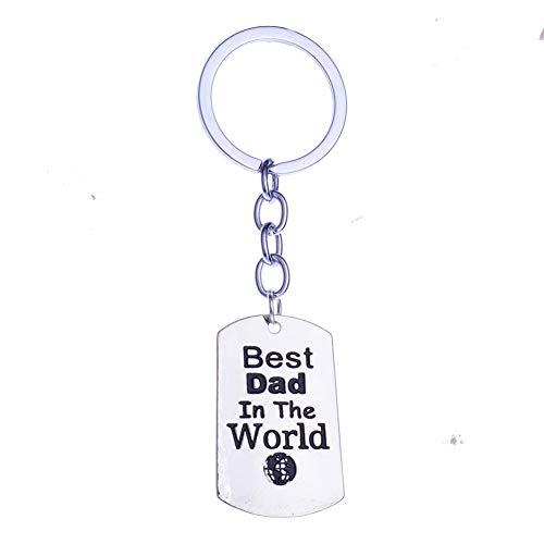 Haodou Best Dad In der Welt Earth Anhänger Schlüsselanhänger Schlüsselbund Key Ring Vatertagsgeschenk Familie Schmuck Papa Charme Herren Autoschlüssel Halter