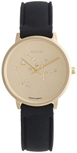 Pilgrim Damen Armbanduhr Sternzeichen Schütze Silikon Vergoldet Schwarz