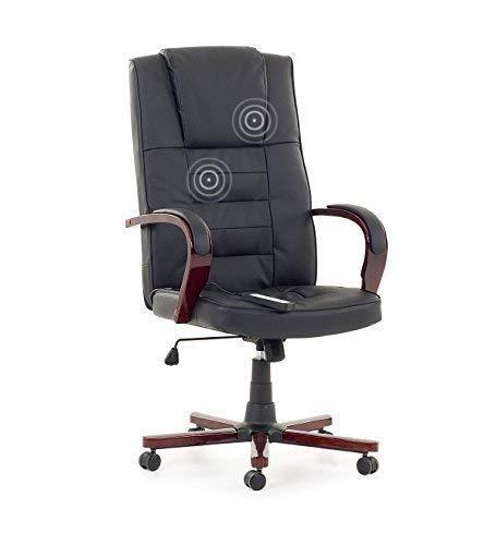 """Leder Chefsessel Massagesessel Bürostuhl Drehstuhl\""""San Diego\"""" mit Massage Farbe schwarz, Fußkreuz und Armlehnen aus Holz Bürosessel günstig"""