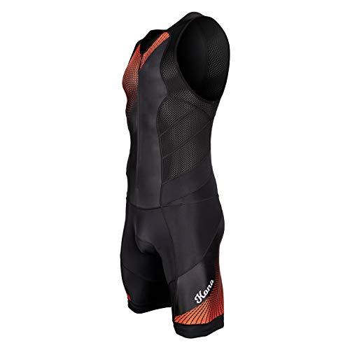 Kona Herren Triathlon Race Anzug - Speedsuit Skinsuit Trisuit ärmellos - Einteilige Weste und Kurze Combo mit halben Reißverschlüssen und Einer Gesäßtasche für Stauraum (rote Grafiken, X-Large)