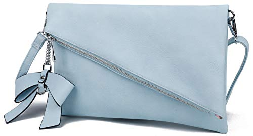 Løkke - Damen Clutch Hellblau Handtasche - Tasche mit abnehmbarem Schulterriemen - Abendtasche Schultertasche Umhängetasche - inkl. Schleife