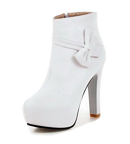 AllhqFashion Damen Reißverschluss Rund Zehe Stiefel Weiß