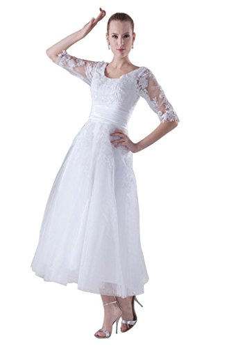GEORGE BRIDE Halbaermel Tee-Laenge Formale Aplliques Hochzeitskleidung Brautkleider Hochzeitskleider...