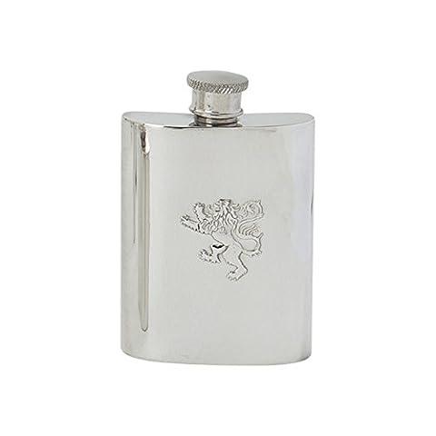 Edwin Blyde & Co Traditional Kidney Shape Embossed Rampant Lion Design Spirit Flask, Pewter, 4 oz