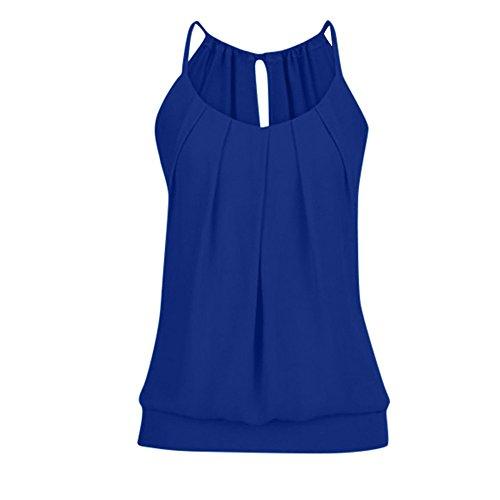 iHENGH Damen Sommer Top Bluse Bequem Lässig Mode T-Shirt Blusen Frauen lose faltige O Ansatz Cami Trägershirts Weste Bluse(Dunkelblau, 2XL)
