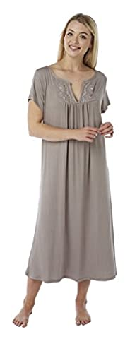 Ladies Plus Size Long Embroidered Jersey Nightdress. Black, Grey Marl, Raven, Mauve, Burgundy, Mink or Purple. Sizes 14-16 18-20 22-24 26-28 30-32 (18-20, MINK)