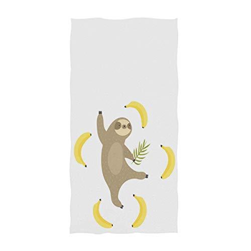 VLOOQ-HX Niedliche Tropische Art-lustige Tanzen-Trägheit mit Bananen-Druck-weichen Handtüchern für Badezimmer, Hotel, Turnhalle und Badekurort 27,5 x 17,5 Zoll -