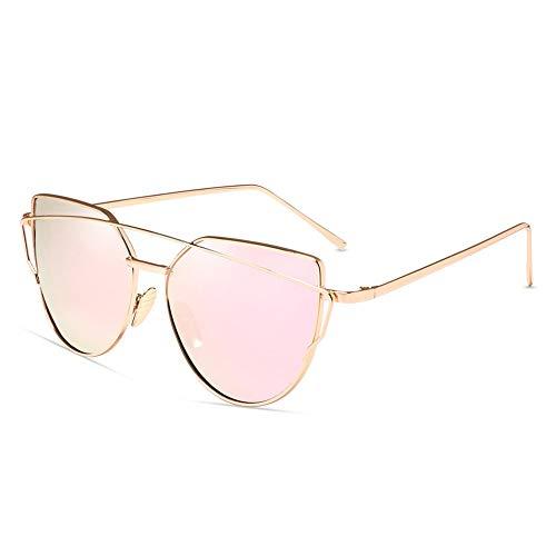 AMTSKR Mode Vintage Metallic Farbe Brille Outdoor Sonnenbrillen für Frauen Fashion Shades (Farbe : Rose Gold/pink)
