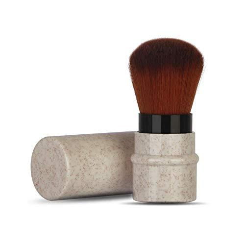 Pennello per trucco per blush, cipria, fondotinta, cappuccio Kabuki retraibile per correttore con materiali riciclati e sostenibili Pennello per capelli sintetico gratuito per crudeltà(Beige)