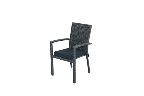 Ploß Stapelsessel Swinging - Polyrattan-Gartensessel mit Sitzkissen in Anthrazit - Korbsessel mit Armlehnen 64cm - Rattansessel in Grau-Braun - Poly-Rattan Gartenstuhl stapelbar mit Polster