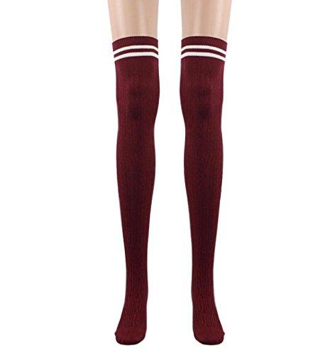 College Mädchen Overknee Strümpfe,ZEZKT 1 Paar Streifen Kniestrümpfe Lang Dünn Baumwolle (Rot)