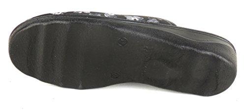 ROMIKA femme pantoufles eté-textile-gris 67357 romisana largeur h Noir - Gris