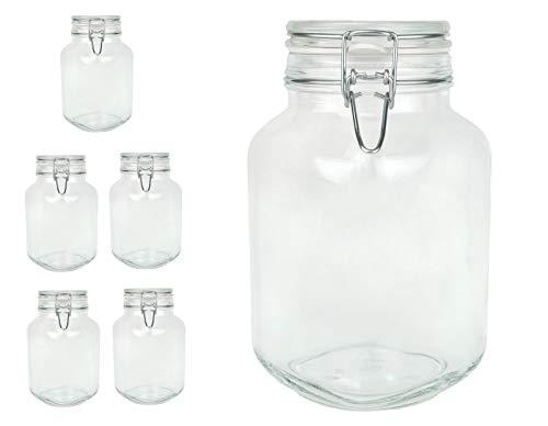 Bormioli Fido Gläser mit Bügelverschluss 6 teilig | Füllmenge 2 L | Luftdichte Konservierung durch den Gummiring sowie den Drahtbügelverschluss