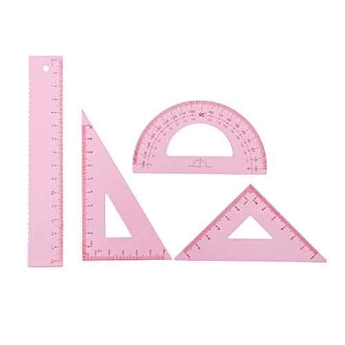 lpyfgtp 4pcs/Set Measurement Ruler Metal Drawing Measurement Geometry Protractor Triangular Ruler Straightedge School Office Supplies Student Stationery