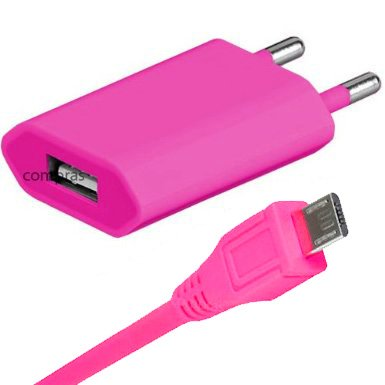 Original q1 2in1 Set Pink USB Micro Ladegerät Datenkabel Ladekabel Netzteil Adapter für Huawei Ascend P6 / Ascend G525 / Ascend P2 / Ascend Y300 / Ascend G510 / Ascend W1 MicroUsb