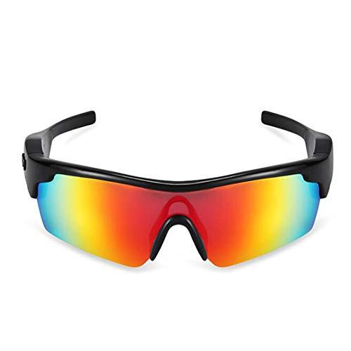 KCaNaMgAl Intelligente Bluetooth-Brille, Bluetooth 4.1 gratis mit Kopfhörer, Sonnenbrille und polarisierender Sonnenbrille,Red