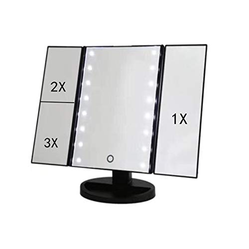 LED Kosmetikspiegel Faltbarer Standspiegel, beleuchteter Schminkspiegel und 5X/...