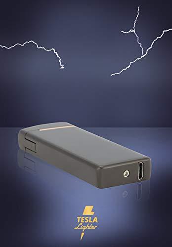 TESLA Lighter T14 Lichtbogen-Feuerzeug, elektronisches USB Feuerzeug, Double-Arc Lighter, wiederaufladbar, Schwarz