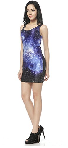 Thenice - Robe - Trapèze - Sans Manche - Femme Multicolore Mary Taille Unique Galaxy Star