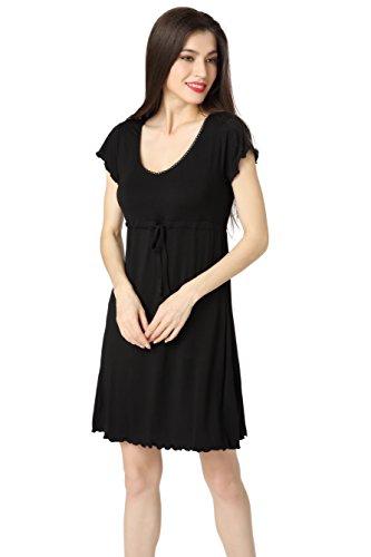 Aibrou Damen Schlafrock Modal Nachthemd lose Negligee Nachtwäsche kurzarm Sleepshirt mit einstellbarem Gürtel Freizeitanzug Umstandskleidung Reine Farbe Schwarz