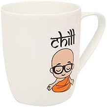 HomeStop Ivy Round Chill Monk Printed Coffee Mug_Black_Free Size