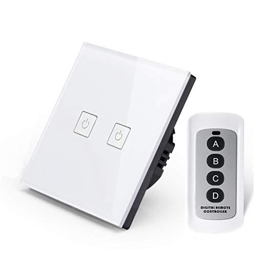 ZUKN Smart Home Crystal Glass Panel Touch Wall Light Switch mit Fernbedienung,White -