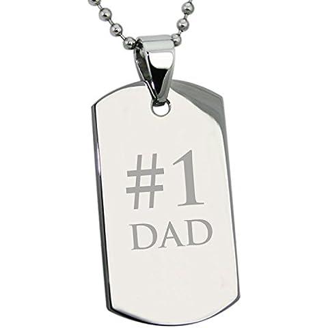Acciaio inossidabile # 1 DAD (Il Numero 1 Papà) Inciso Medaglietta di Riconoscimento Dog Tag Pendente