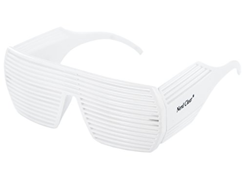 Party-Brille XXL Rasterbrille Atzenbrille weiß Panto-BrilleDesign-Brille Nerd-Brille - Weiß Und Nerdy Kostüm