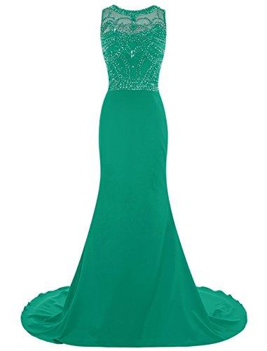 Dresstells, Robe de soirée de mariage/cérémonie/bal forme sirène traîne moyenne emperlée Vert