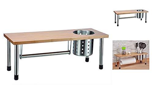 GYD Küchenrollenhalter Bambus Küchenregal mit Edelstahlbecher - mehr Stauraum in der Küche Standregal Ablage Küchengestell