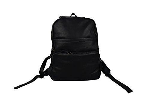Zerimar Sac à dos en cuir style décontracté avec de multiples poches Mesures: 37X34X13 Noir