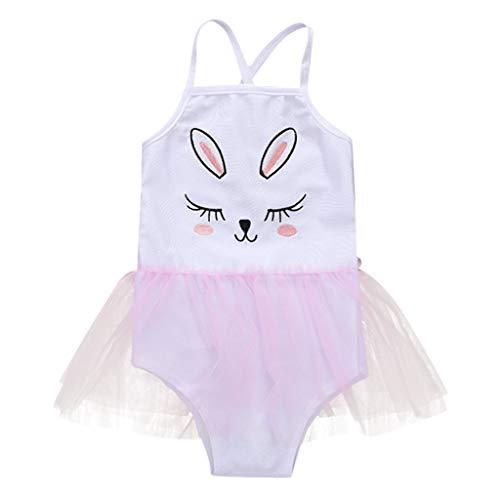Baby Mädchen One Piece Badeanzug Streifen Und Hase Bunny Bademode für Kleinkinder (2-3 Jahre, Rosa)