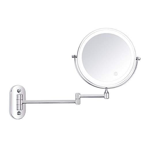 XIE Espejo de vanidad de 8 Pulgadas con luz LED Lupa de Aumento 1X / 10X Espejo expansible de Pared...