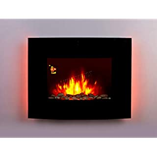 FoxHunter Wall Mounted Electric Fire | Curved Glass Screen Fireplace With 7 Colour LED Backlight | Fake Flame Fire Electronic Fireplace With Remote | 1.8kw