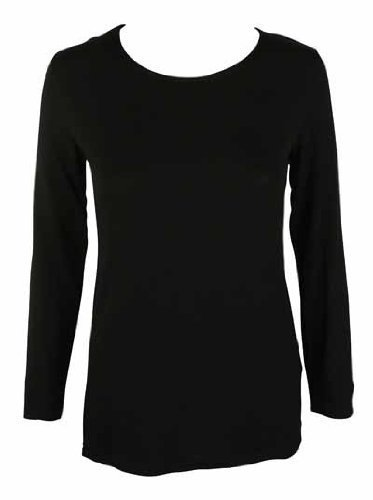 New Ladies Plain Stretch Fit Long Sleeve Womens T-Shirt Round Neck Basic Top Black Size 8 - 10