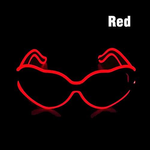 Relubby LED Herzbrille, Wiederaufladbare Leuchten Brillen, Festival Rave Party Sonnenbrille Glow Adjustable EL Wire,Red -
