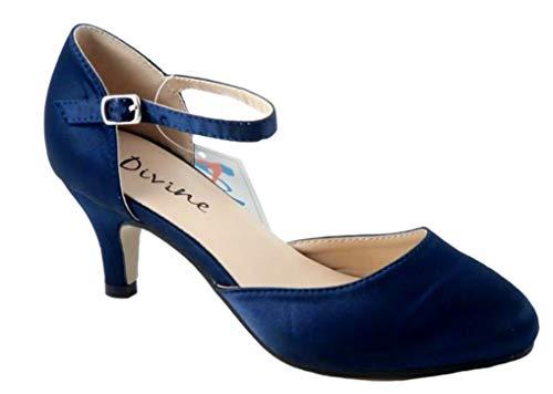 Mary Jane Damen Pumps aus Satin, mittelhoher Absatz, Blau - Navy Satin - Größe: 39 EU - Satin Schuhe