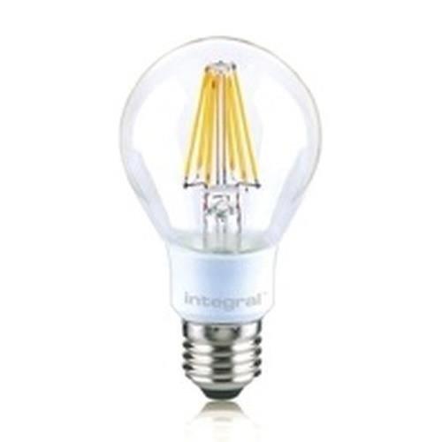 Integral ILGLSE27DC036 Ampoule E27 806Lumens 7W équivalent à 60W 2700k 80cri 330° Claire, Verre, 7 W, Blanc