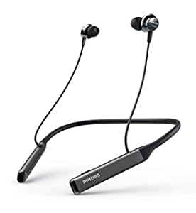 Philips Audios Performance TAPN505BK Bluetooth 5.0 Active Noise Cancelling in-Ear Neckband with Google Assistant, Hi-Res Audio, Quick Charge and Built-in Mic with Echo Cancellation (Black)