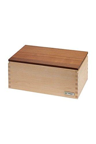 Legnoart Crispy Frêne Massif Boîte à Pain avec Thermo foncé Ashwood Planche à découper à Pain, 350 x 200 x 145 mm, Marron