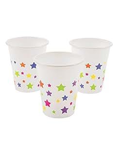 25 tasses en plastique avec motif étoiles