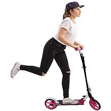 Scooter plegable de 2 Ruedas, Patinete Altura Ajustable y Manillar Ajustable, Carga 120KG para