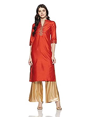 W for Woman Straight Kurta (18AUW11269-210691_Rust_6)