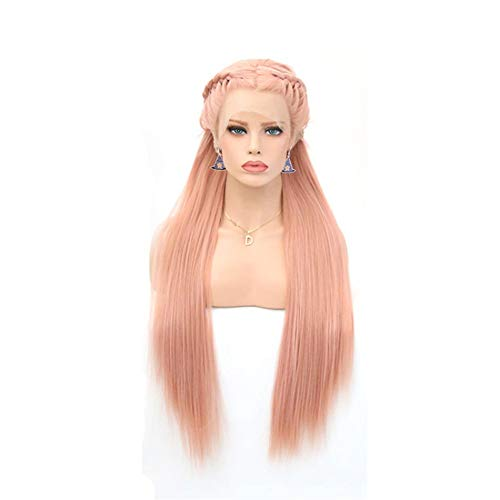 European and American Fashionable Style Pink Round Braided Half Hook Wig Pre -lace Chemical Fiber Wig Headset