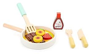 small foot company- Set para Cocina Infantil Pancakes,con sartén,espátula, Cuchillo y Tenedor, así como Ingredientes, a Partir de los 3 años Juguetes, (11467)