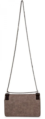 styleBREAKER clutch, borsetta da sera con fermagli metallici e catena scorrevole, design vintage, donna 02012046, colore:Marrone Senape