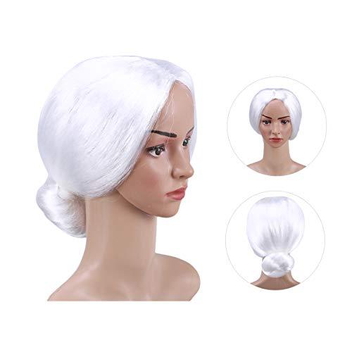 Lurrose White Old lady Haar Perücken Front Lacenet Synthetische Haarverlängerungen Hitzebeständige Haar Perücke mit Perücke Kappe für Halloween Kostüm Party Cosplay