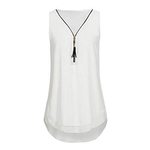 UJUNAOR T-Shirt Donna,Magliette Senza Maniche in Chiffon con Scollo a V Maniche Lunghe con Scollo a Cerniera per Donna,S,M,L,XL,2XL(X-Large,Bianca)