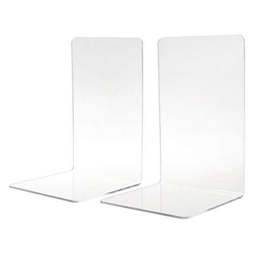 WINJEE, 2 Stücke Durchsichtigen Acryl Buchstützen L förmigen Schreibtisch Organizer Desktop Buchhalter Schule Schreibwaren Klar -