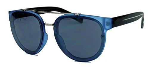 Trend Sonnenbrille Pantobrille mit Metallsteg für Damen und Herren FARBWAHL EY45 (Blau)